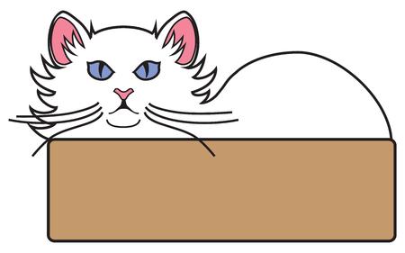 青い目の白猫が侵入者をにらみつけてベッドに横たわっている。