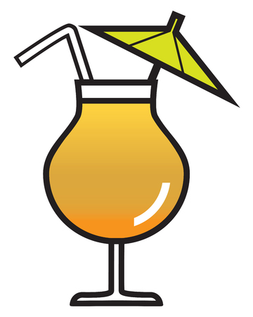 A cartoon umbrella drink with straw is full and ready to enjoy Illustration
