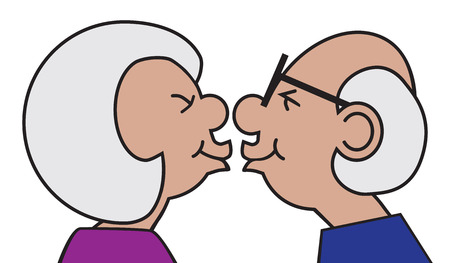 An older couple in love are sharing a kiss