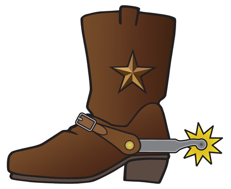 Leather cowboy boot with metal star decoration has spur attached. Illustration