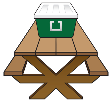 A wooden picnic table with a green and white cooler full of food resting on it Illustration