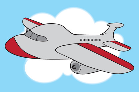 A cartoon gray and white passenger jet is soaring through the skies.