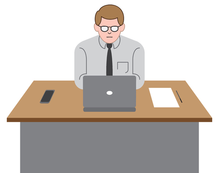 A young office worker is at his desk using his laptop computer. Çizim