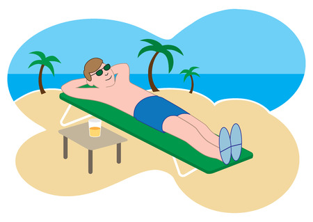 A young cartoon man is enjoying a tropical beach getaway Vettoriali