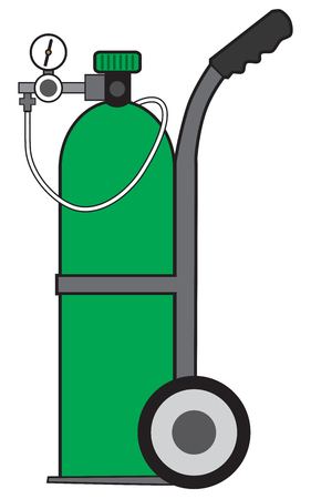 Green portable pressurized oxygen tank on a cart and ready to use