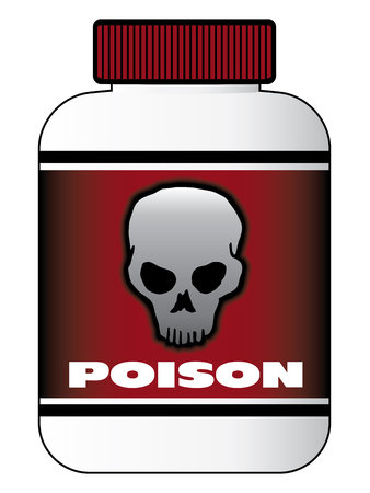 A plastic bottle of poison with a skull on the label as a warning.