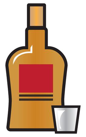Een volle fles whisky zit naast een leeg shotglas