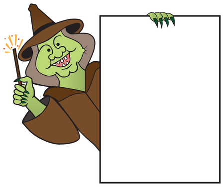 A smiling cartoon witch with a magic wand is holding a sign with room for copy. Illustration