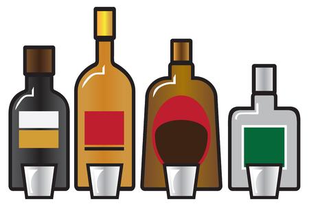 Vier verschillende volle drankflessen vergezeld van vier borrelglaasjes Stock Illustratie