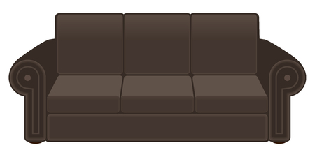 Brown couch suitable for seating three people