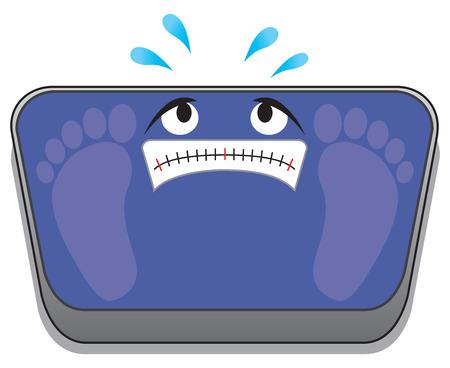 漫画の浴室のスケールの神経質なセットは、踏まれ、押しつぶされることを心配しています。 写真素材 - 92873194