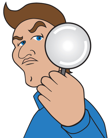 A cartoon man with a magnifying glass is taking a closer look. Illustration
