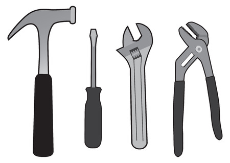 A basic set of tools used for various household and mechanical projects