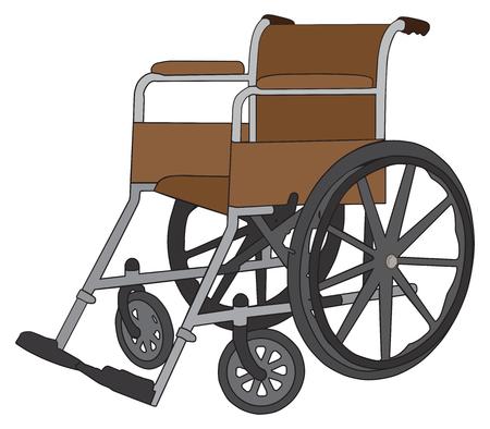Een lege rolstoel wacht om in gebruik te worden genomen. Stock Illustratie