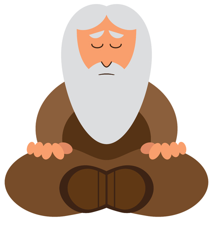 A mature cartoon wise man with a gray beard is meditating.