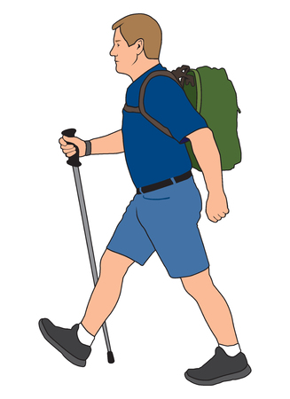 A man carrying a hiking pole and wearing a backpack is taking a walk