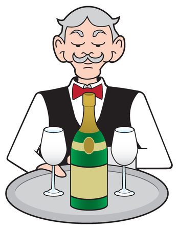 A stuffy cartoon waiter is presenting a bottle of champagne with two glasses on a tray Stock Illustratie