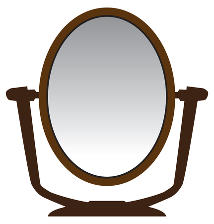An oval shaped modern personal vanity mirror