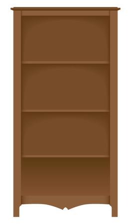 Een lege houten boekenkast is klaar om te worden gevuld