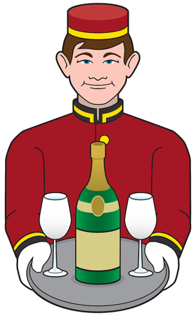 A young smiling hotel bellhop is delivering a bottle of champagne Stock Illustratie