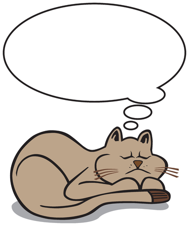 A cartoon cat is asleep with a thought balloon above him that has room for copy Çizim