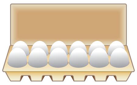 A dozen farm fresh hen eggs in a carton ready to use. Vector illustration.