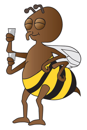 A cartoon worker bee is taking a well deserved break with a drink or two