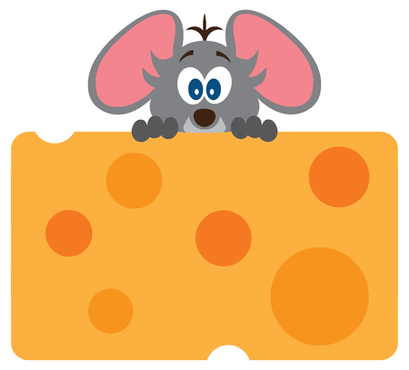 A cute baby mouse is excited about his large piece of cheese