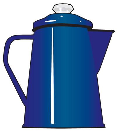 주로 캠핑에 사용되는 파란색 금속 커피 남비 일러스트