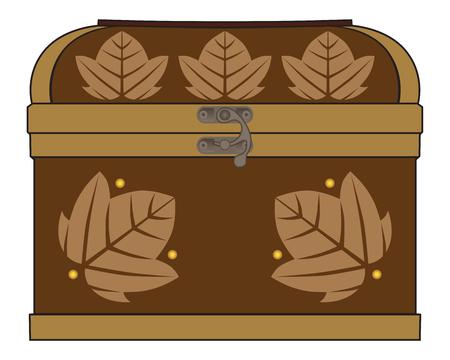 多種多様な貴重品の保管に適した木製の宝箱  イラスト・ベクター素材