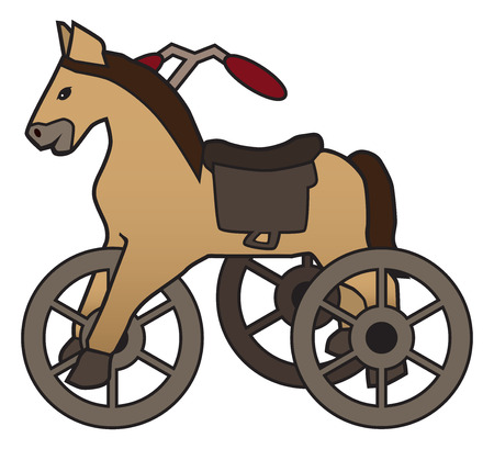 A decoration meant to resemble an old fashioned horse tricycle