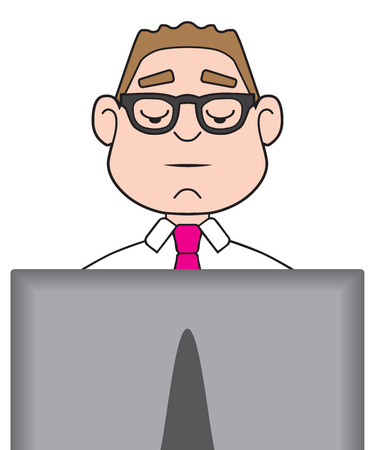 A cartoon businessman is diligently working on his computer Ilustração