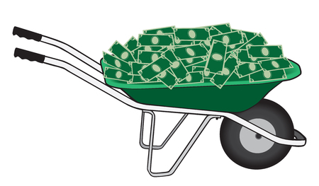 A green wheelbarrow filled with cash is ready to be taken away. Vector illustration. Çizim