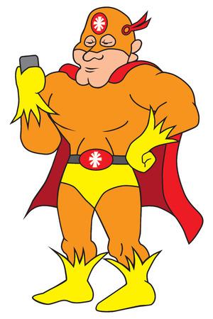 화려한 만화 슈퍼 영웅 그의 휴대 전화를 검사합니다. 일러스트