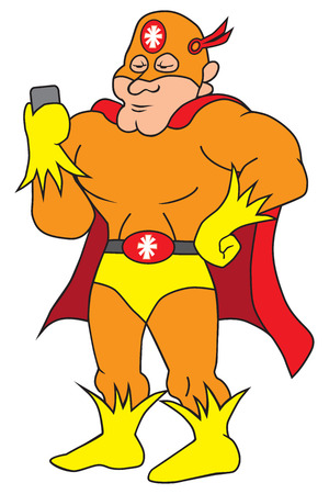 A flamboyant cartoon super hero is checking his cell phone