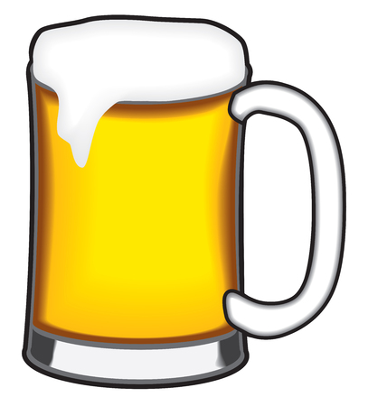 A cool, freshly poured mug of beer is waiting to be quaffed