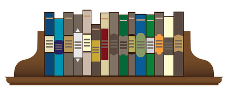 A row of books on a wooden shelf held in place by bookends. Vetores