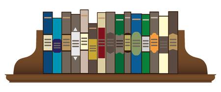 Een rij boeken op een houten plank op zijn plaats gehouden door boekensteunen. Stock Illustratie
