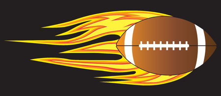 A football is flying through the air leaving a trail of flames behind. Illustration