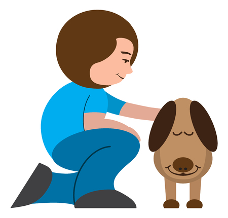 A cartoon woman is petting her very appreciative dog