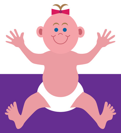 A flat vector cartoon baby is just wanting to be picked up