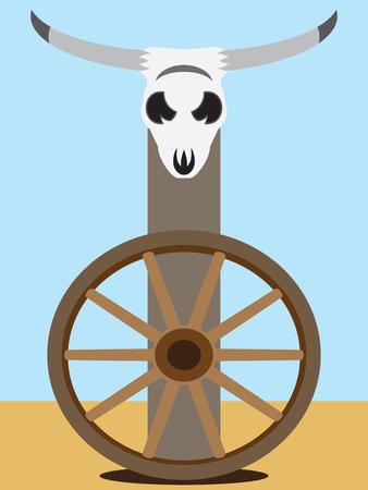 사막의 수레 바퀴 위의 게시물에 대한 평면 벡터 조종 두개골