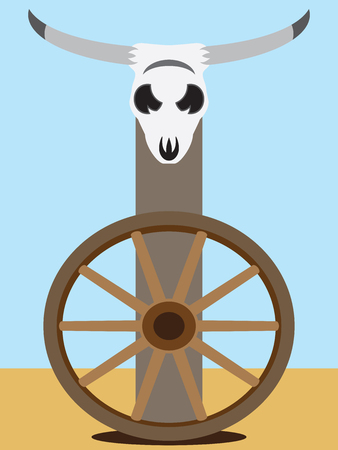 A flat vector steer skull on a post above a wagon wheel in the desert Illustration