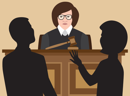 A female judge is listening to two lawyers argue their cases.