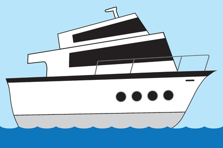 A huge cartoon yacht is sailing the open seas