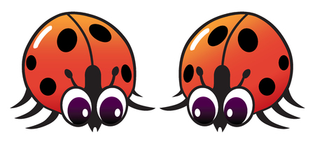 Two shiny cartoon ladybugs are checking each other out