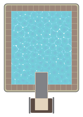 An aerial view of a swimming pool with a high dive platform.