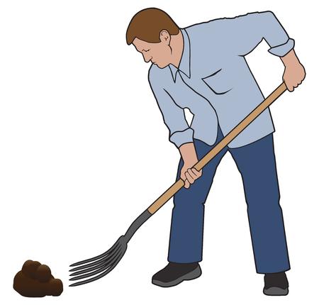 A man is using a pitchfork to clean up after his wifes horse