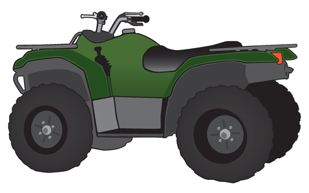 A green and black all terrain vehicle.