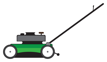 Side view of a green cartoon lawn mower